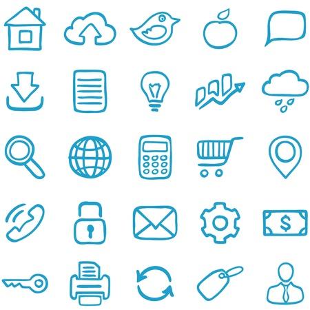 rekenmachine: Hand-drawn iconen voor ontwerp en decoratie Stock Illustratie