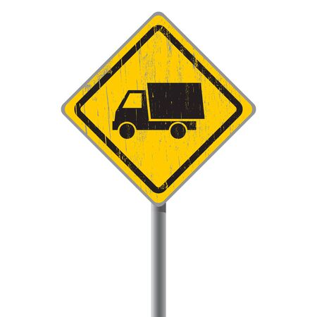 Old shabby road sign with truck  Stock Vector - 18687441