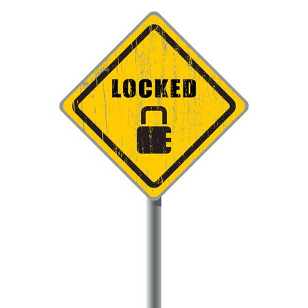 Locked old shabby road sign with icon padlock  Concept of security Stock Vector - 18687432