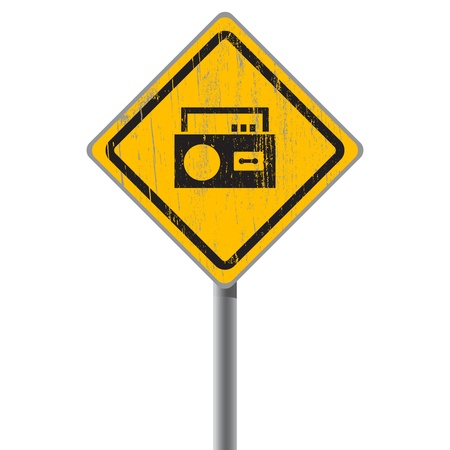 Old shabby yellow sign with an old-fashioned audio cassette mono recorder  Stock Vector - 18687443
