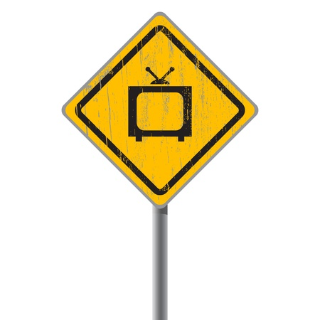 Old-fashioned TV on the old shabby street sign Stock Vector - 18687428