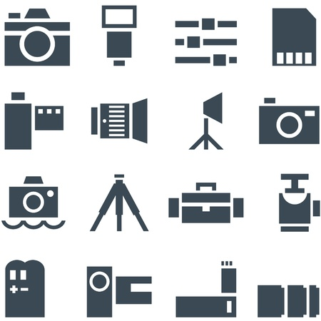 tripods: Set  icons  accessories for decoration and web design