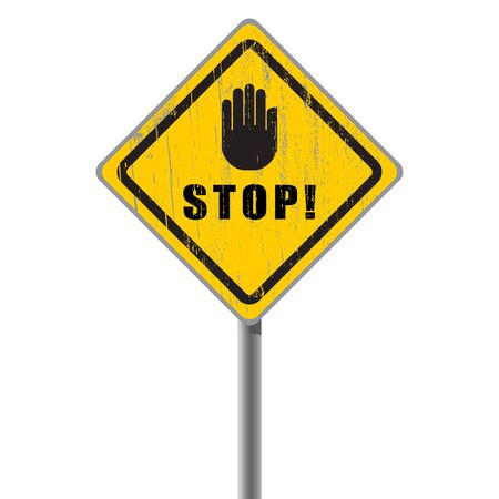 Stop scratched road sign with hand Stock Vector - 18687429