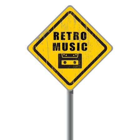 Retro music old scratched road sign with audiocassette  Vector