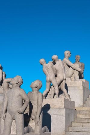 granite park: Group of sculptures in the Vigeland Park. Oslo, Norway.
