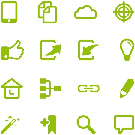 Set of bright green vector icons  Collection of icons can be used in web design, mobile applications, computer programs  File in EPS10 format, can be increased without loss of quality  photo
