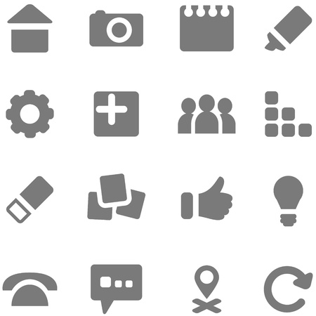 pictogrammes: Set of simple gray icons for design  Vector icons can be used in web design, mobile applications and print