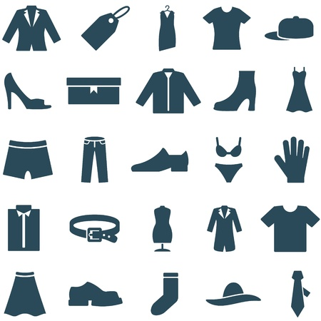 without clothes: Set vector icons clothes and accessories  Collection of icons can be used in web design, mobile applitsations, for decoration shops  The file is EPS10 format, can be increased without loss of quality  Stock Photo