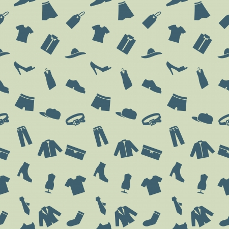 pictogrammes: Seamless pattern with clothes, footwear and accessories  Endless pattern can be used for wallpaper, web design and background, printing on the surface paper or cloth