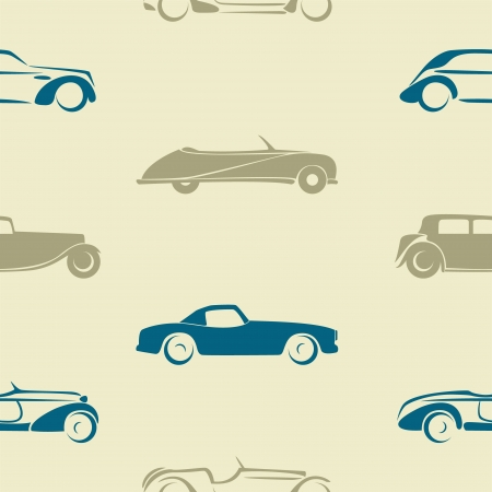 car ornament: Seamless pattern with retro cars  Vector background with old vintage cars, can be used in the design, print and wallpaper