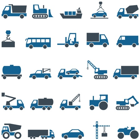 Vector icons of construction and trucking industry  Set icons can be used in web design, mobile applitsations, printing on a variety of surfaces  The file is EPS10 format, can be increased without loss of quality  photo