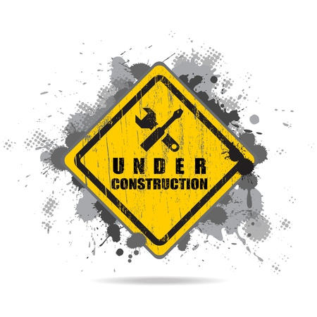 Vector worn road sign Under construction with tools  Old dirty road waymark with blots Stock Photo - 21172383
