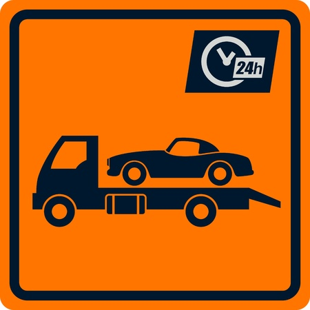 tow: Vector sign with truck tows  Sign can be used for design and decoration  Stock Photo