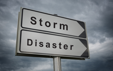 hurricane disaster: Storm Disaster road sign. Concept of the threat of destruction as a consequence of Hurricane.