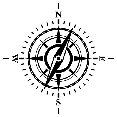 change size: Compass with wind rose. Possible to easily change the colors and size without losing image quality.