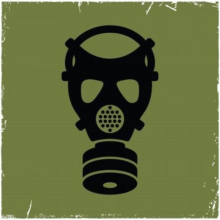 mascara de gas: Careta antigás en edad a partir de los arañazos. Concepto de amenazas de seguridad.