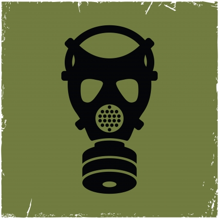 gas mask warning sign: Gas mask on old with effect of scratches. Concept of security threats. Illustration