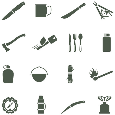 Set of vector icons with camping equipment and accessories. All elements are on separate layers. Possible to easily change the colors and size without losing image quality. Vector