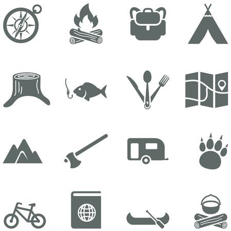 Conjunto de iconos vectoriales para el turismo, los viajes y el camping. Todos los elementos están en capas separadas. Posibilidad de cambiar fácilmente los colores y el tamaño sin perder calidad.
