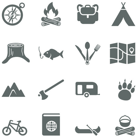 Set of vector icons for tourism, travel and camping. All elements are on separate layers. Possible to easily change the colors and size without losing image quality. Ilustração