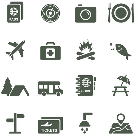 Vector icons for travel and tourism. All elements are on separate layers. Possible to easily change the colors and size without losing image quality.