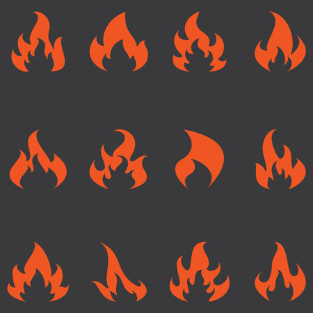 Flame set of vector icons. Different fire are all on separate layers so they can easily be moved or edited individually.