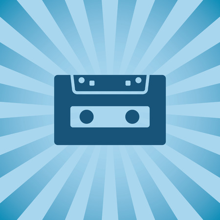 Retro poster audio cassette on background beams.