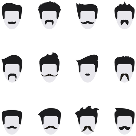 Set vector icons face with mustaches. All templates are on separate layers for easy use.