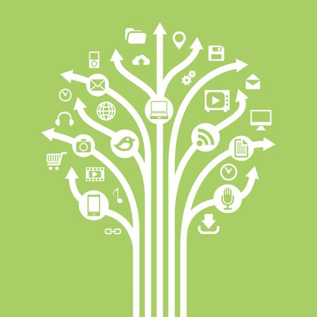 Gadgets and technology symbols on tree with arrow. Conceptual illustration. Illustration
