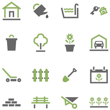 garden tool: Set icons house and garden. Illustration