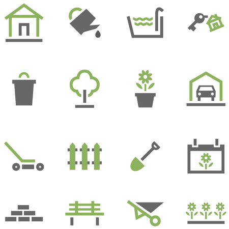 Set icons house and garden. Illustration