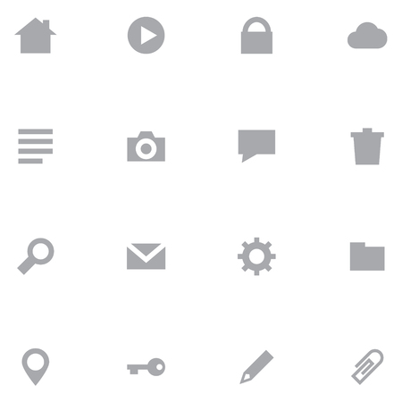 Set minimalistic icons for web interface and mobile applications. Neutral gray color is ideal for any design.
