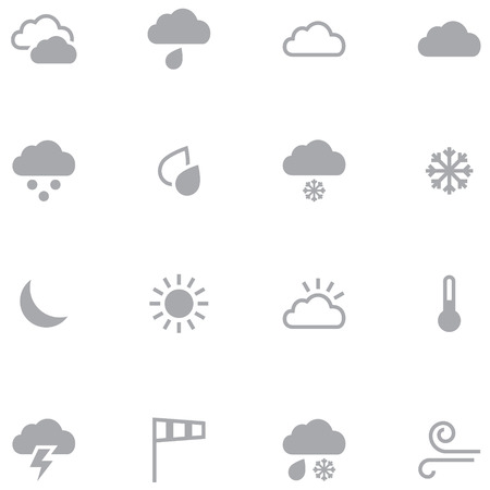 Set of minimalistic weather icons for web and mobile applications. Neutral gray color is ideal for any design.