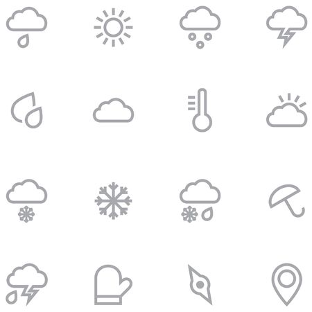 Set outline weather icons for web and mobile applications. Neutral gray color is ideal for any design.
