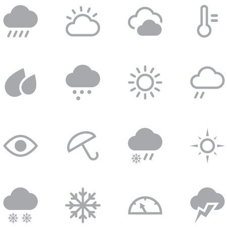 Set weather icons for web and mobile applications. Neutral gray color is ideal for any design. Illustration