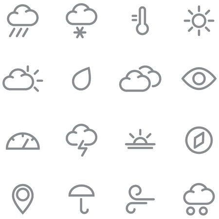 Set weather icons. Simple lines and gray color perfect for any project. Illustration