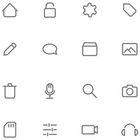Set icons multimedia. Buttons for web or app interface design. Illustration