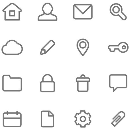 website buttons: icons for simple minimalist design. Symbols and buttons in the form of lines, strokes and contours.