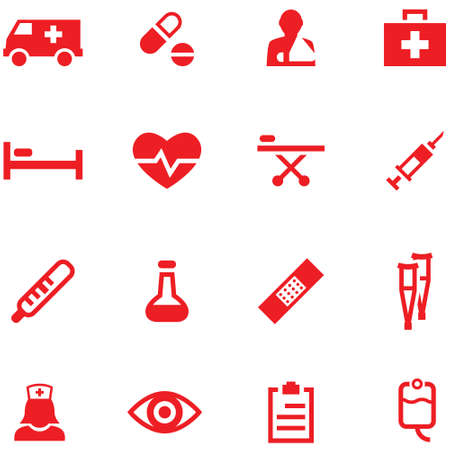 Set of icons medicine and first aid. Illustration