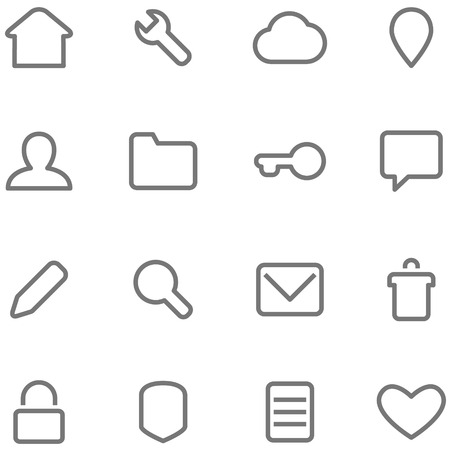 contours: icons in a minimalist style. Contours and stroke.