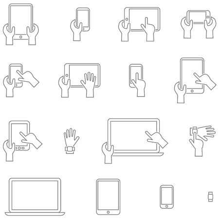 pictogrammes: icons set gadgets with touch screen. Simple design with contours and stroke.