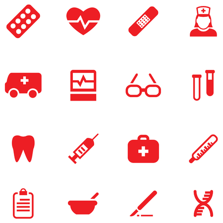 Set vector icons and buttons for medical and health.