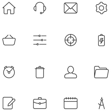 Vector icons and buttons for web  interface or mobile applications.