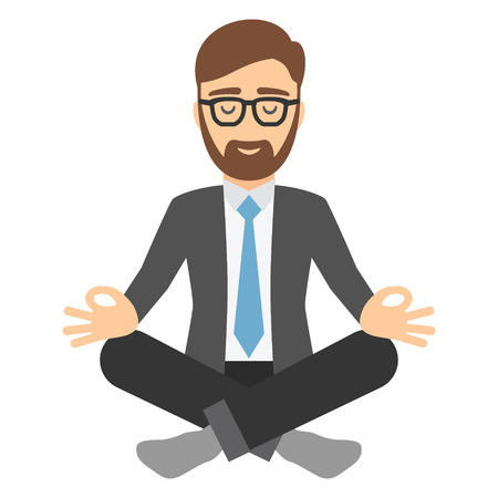 relax: Businessman in suit meditating. Illustration