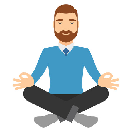 relaxed man: Businessman meditating in lotus pose. Young european man focused and relaxed at work.