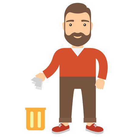 Cartoon man throwing garbage in bin. Concept flat icon.