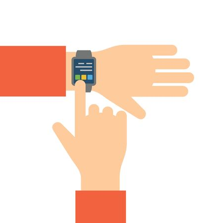 Finger touches screen smart watch. Flat illustration.