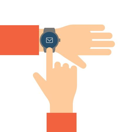 finger shape: Finger touches the display smart watch with email icon.