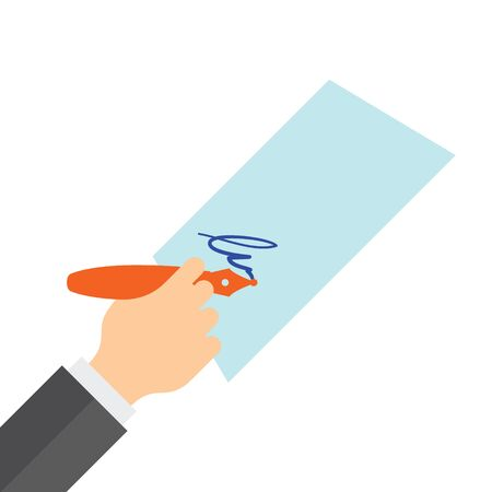 Hand holding a fountain pen and sign on paper. Flat illustration. Illustration
