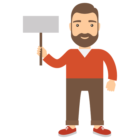 a placard: Man holding placard. Concept flat cartoon icon. Illustration